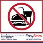 Стикер забранено е консумацията на храна и напитки